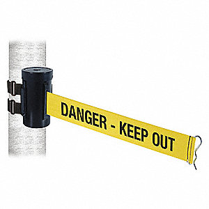 Retractable Belt Barrier, Yellow with Black Text, Danger - Keep Out