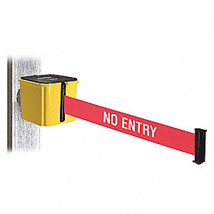 Belt Barrier,Yellow,Magnet,4 in. H