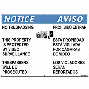 Security Sign,20 x 28In,Blue/Black/White
