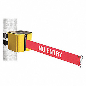 Retractable Belt Barrier, Red with White Text, No Entry