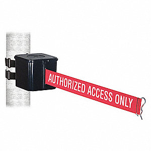 Retractable Belt Barrier, Red with White Text, Authorized Access Only