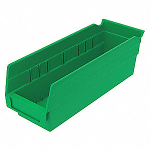 Shelf Bin,Green,78 cu. in.Vol Capacity
