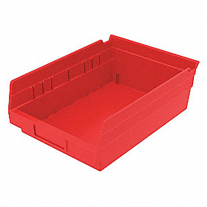 "Shelf Bin, Red, 4""H x 11-5/8""L x 8-3/8""W, 1EA"