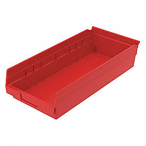 "Shelf Bin, Red, 4""H x 17-7/8""L x 8-3/8""W, 1EA"
