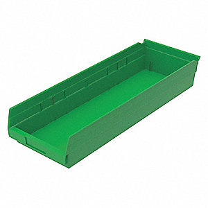 "Shelf Bin, Green, 23-5/8"" Outside Length, 8-3/8"" Outside Width, 4"" Outside Height"