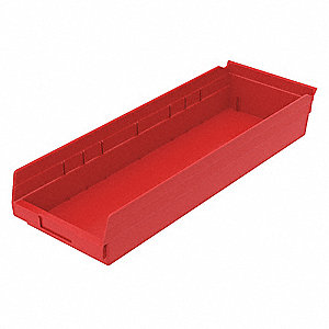 "Shelf Bin, Red, 4""H x 23-5/8""L x 8-3/8""W, 1EA"