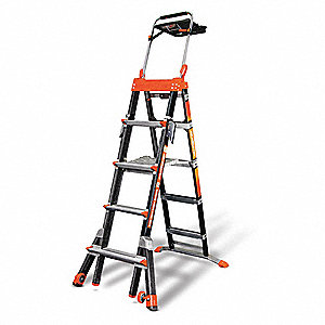 5 to 8 ft. Fiberglass Multipurpose Ladder, 300 lb. Load Capacity, 44.0 lb. Net Weight