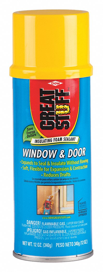 Insulating Spray Foam Sealant,  12 oz,  Aerosol Can,  Indoor, Outdoor,  Number of Components 1