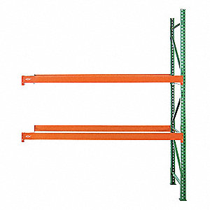 "111""W x 36"" D x 120""H Steel Pallet Rack Add-On Unit, 19,380 lb. with Beams Evenly Spaced at 36"""