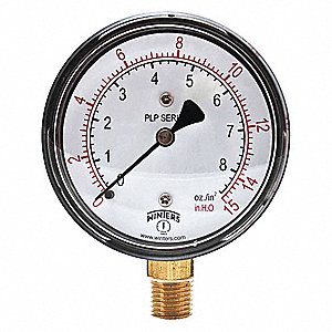 "2-1/2"" Low Pressure Pressure Gauge, 0 to 15 In. H2O"