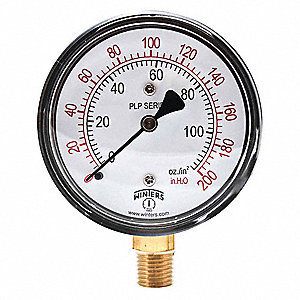 "2-1/2"" Low Pressure Pressure Gauge, 0 to 200 In. H2O"