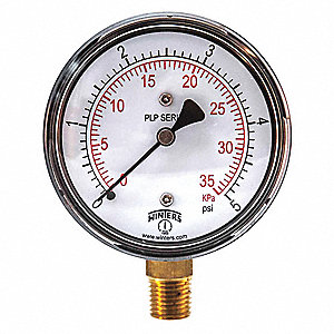 Low Pressure Gauge,Bottom,0 to 5 psi
