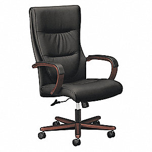 "Black Leather Executive Chair 28"" Back Height, Arm Style: Fixed"