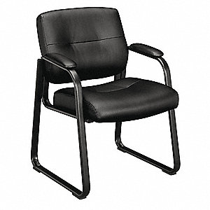 "Black Leather Side Chair 16"" Back Height, Arm Style: Fixed"