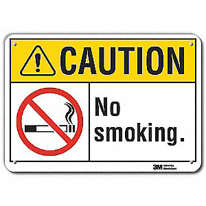 No Smoking Sign,Black/Yellow,10 in. H