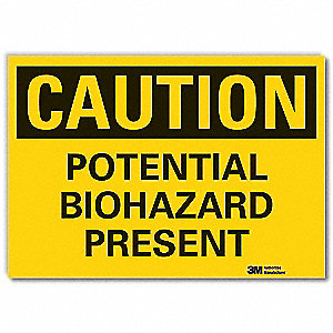"Biohazard, Caution, Vinyl, 7"" x 10"", With Mounting Holes, Engineer"