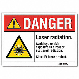 Laser Sign,Black/Red on White,10inW