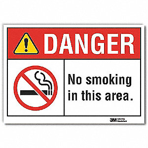 "No Smoking, Danger, Polyester, 7"" x 10"", Adhesive Surface, Not Retroreflective"