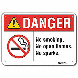 No Smoking Sign,Black/Red on White,10in