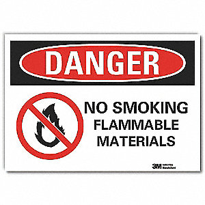 "No Smoking, Danger, Vinyl, 3-1/2"" x 5"", Adhesive Surface, Engineer"