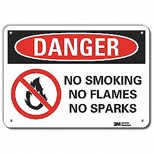 "No Smoking, Danger, Aluminum, 7"" x 10"", With Mounting Holes, Engineer"