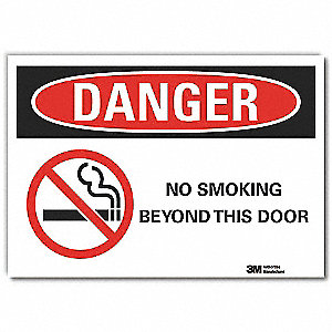 No Smoking Sign,Self-Adhesive,10 in. H