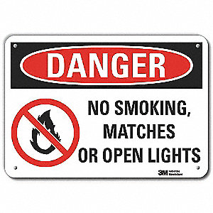 "No Smoking, Danger, Aluminum, 10"" x 14"", With Mounting Holes, Engineer"