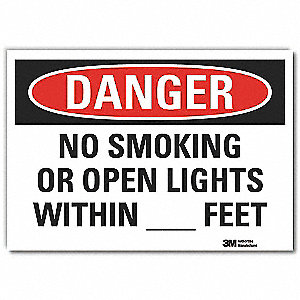 No Smoking Sign,Self-Adhesive,10inH,Text