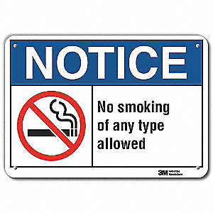 "No Smoking, Notice, Aluminum, 7"" x 10"", With Mounting Holes, Engineer"
