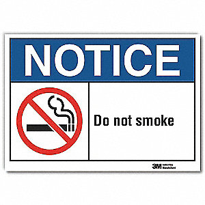 No Smoking Sign,Self-Adhesive Vinyl,5inH