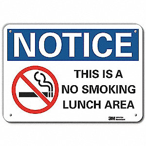 No Smoking Sign,Corner Holes,10 in. H