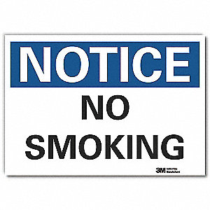 No Smoking Sign,Black/Blue on White,Text