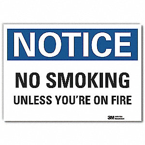 No Smoking Sign,Black/Blue on White,5inH