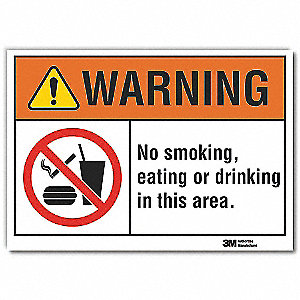 "No Smoking, Warning, Vinyl, 10"" x 14"", Adhesive Surface, Engineer"