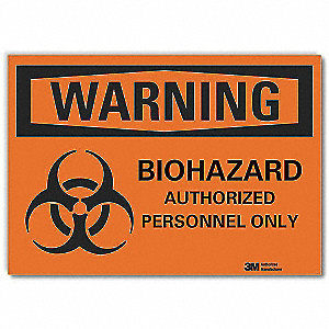 Biohazard Sign,Black/Orange,14 in. W