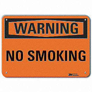 "No Smoking, Warning, Recycled Aluminum, 7"" x 10"", With Mounting Holes, Engineer"