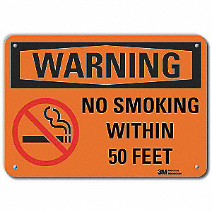 "No Smoking, Warning, Aluminum, 10"" x 14"", With Mounting Holes, Engineer"