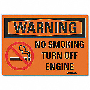 No Smoking Sign,Black/Orange,3-1/2 in. H