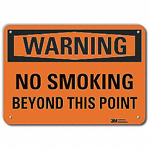 No Smoking Sign,Black/Orange,10in.W,Text