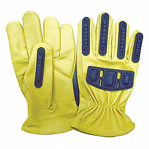Goatskin Leather Work Gloves, Shirred Wrist Cuff, Gold/Yellow, Size: L, Left and Right Hand