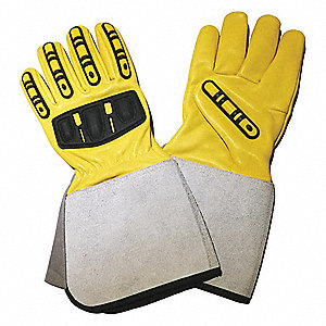 Goatskin Leather Work Gloves, Gauntlet Cuff, Yellow, Size: M, Left and Right Hand