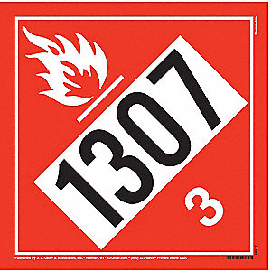 "10-3/4"" x 10-3/4"" Class 3 Vinyl Flammable Liquid Placard, Black/Red, White"
