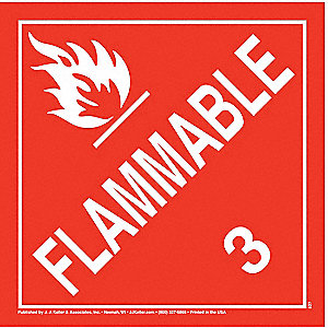 "10-3/4"" x 10-3/4"" Class 3 Polystyrene Flammable Liquid Placard, White/Red"