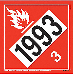 "10-3/4"" x 10-3/4"" Class 3 Tagboard Flammable Liquid Placard, Black/Red, White"