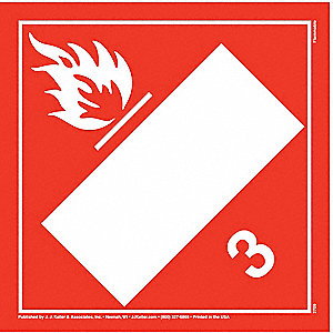 "10-3/4"" x 10-3/4"" Class 3 Tagboard Flammable Liquid Placard, White/Red"