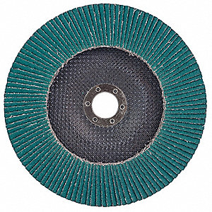 "4-1/2"" Flap Disc, Type 27, 7/8"" Mounting Hole, Extra Coarse, 36 Grit Zirconia Alumina, 1 EA"