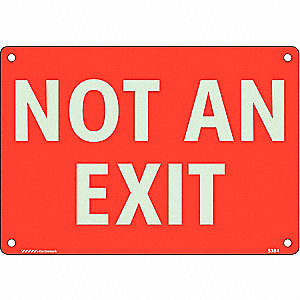 No Exit Sign,10 x 7In,White/Red