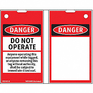 "Lockout Tag, Black/Red/White, 3-1/4""W x 1-51/64"""