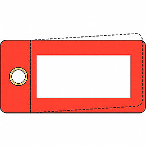 "Blank Tag, Red, Height: 3"" x Width: 1-1/2"", 25 PK"