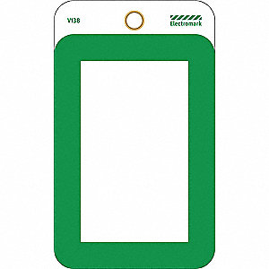 "Blank Tag, Green, Height: 3"" x Width: 1-1/2"", 25 PK"